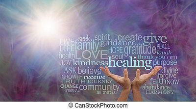 Shine your healing light word cloud
