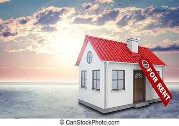 shines, nubes, casa, chimney., techo, etiqueta, fondo rojo, sol, blanco, alquiler, brillantemente