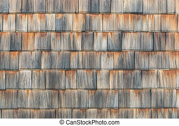 Shingle aged wooden background copyspace. Weathered shakes,...