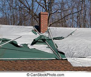 shingled, dak, beschadigen