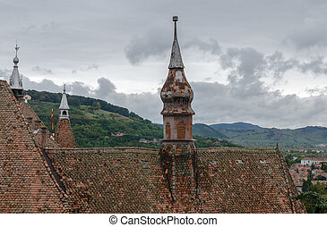 Shingled Roofs and pires of Sighisoara - Tile roofs and...