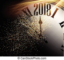 2018 New Year background with clock. - Shining 2018 New Year...