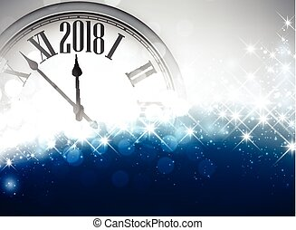 2018 New Year background with clock.