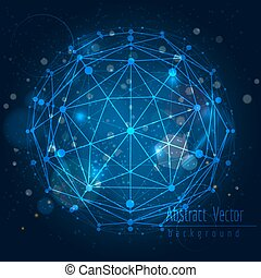 Shining background with connect globe sphere - Abstract...