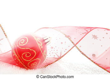 Shining Bauble - Red bauble and Christmas ribbon in bright...