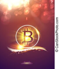Shining bitcoin symbol, light bokeh and sparks. Cryptocurrency symbol illustration with peer to peer network background. Abstract festive background with bokeh defocused lights. Vector illustration