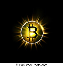 Shining bitcoin symbol, light splashes and sparks. Golden blockchain sun concept. Cryptocurrency symbol illustration with peer to peer network background. Vector illustration.