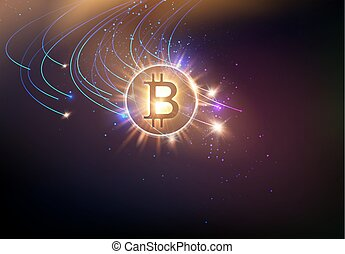 Shining bitcoin symbol with light splashes and sparks. Golden blockchain space concept. Cryptocurrency symbol illustration with peer to peer network background. Vector illustration.