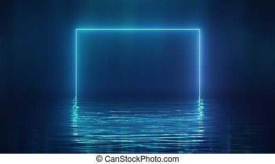 Shining blue neon square over water
