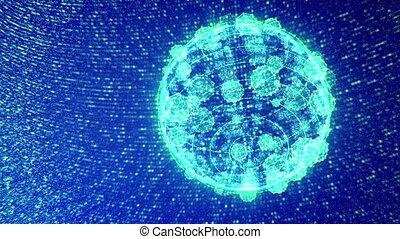 """Shining Blue Plexus Spinning Spheres"" - ""A splendid 3d..."