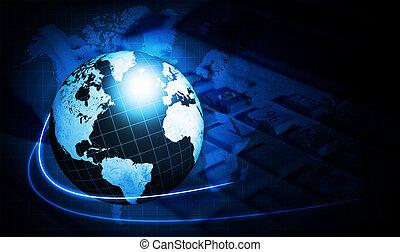 shining blue world map globe with calculator over dark...