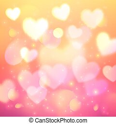 Shining bokeh effect hearts pink background