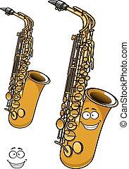 Shining brass saxophone cartoon character