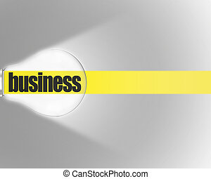 Shining bulb with yellow stripe and word BUSINESS on grey background