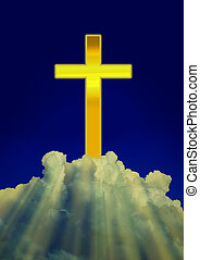 Shining Christian Cross with Shining Rays through White Clouds