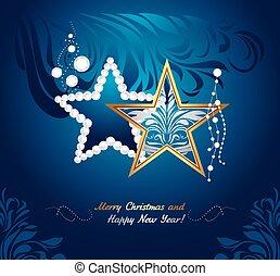 Shining Christmas toys on dark blue background. Greeting ...