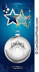 Shining Christmas toys on dark blue decorative background. ...
