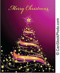 Shining Christmas Tree - Vector illustration of an abstract...