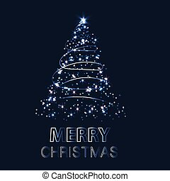 Shining Christmas tree. Vector illustration with background