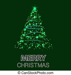 Shining Christmas tree. Vector illustration with green background