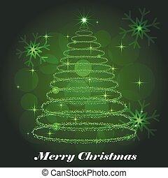 Shining Christmas tree winter background