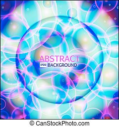 Shining circle banner. Glowing spiral. Vector illustration. Pink, purple, blue, white colors.