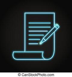 Shining copywriting icon in neon line style - Copywriting ...