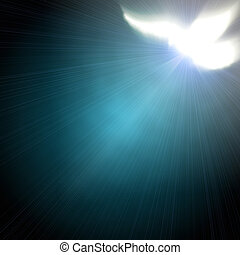 shining dove with rays on a dark