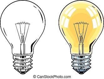 Shining Electric bulb. Light glass lamp. Vector...