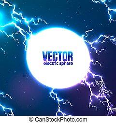 Shining electric lightning white circle frame