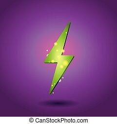 Shining electricity icon. Green energy symbol