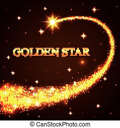 Shining falling golden star in the night sky.
