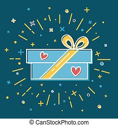 Shining gift box icon with hearts in flat style