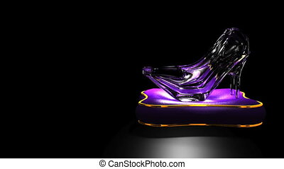 Shining Glass Slippers On Black Text Space. Loopable 3D...