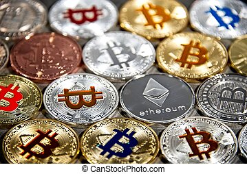 BTC and ETH, Bitcoin and Ethereum coins - Shining gold and ...