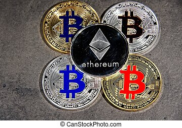 BTC ETH Bitcoin Ethereum coins - Shining gold and silver ...