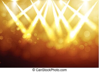 Shining Gold disco spotlights with blured bokeh on dark background. Vector