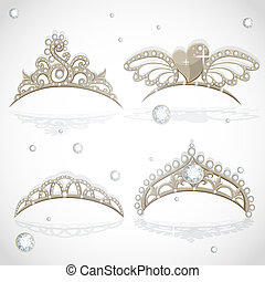 Shining gold girls tiaras set