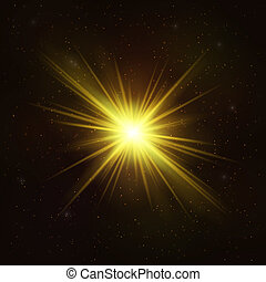 Shining Gold Star - Realistic Cosmic Object.