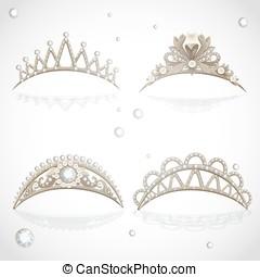 Shining gold tiaras with diamonds
