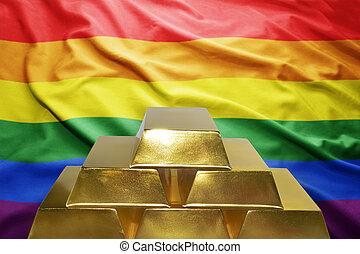 golden bullions on the gay flag background