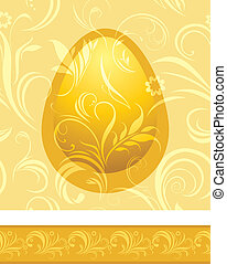 Shining golden egg. Background