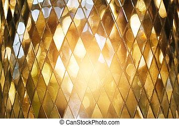 Shining golden mosaic glass background