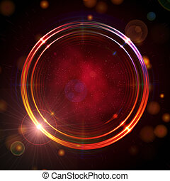 shining golden rings over red background