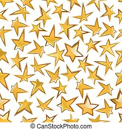 Shining golden stars seamless pattern background