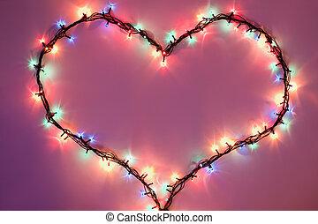 shining heart on dark pink background. Valentine's Day
