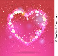 Shining heart on red background