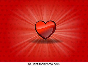 shining heart - red heart on the shining background