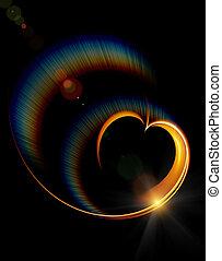 shining heart with rainbow rays
