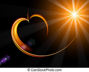 shining heart with rays